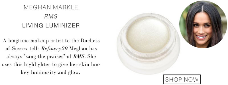 "Meghan Markle RMS living luminizer. a longtime makeup artist to the duchess of sussex tells refinery29 meghan has always ""sang the praises"" of rms. she uses this highlighter to give her skin low key luminosity and glow."
