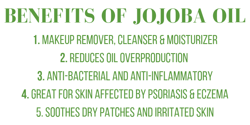 benefits of jojoba: makeup remover, cleanser, and moisturizer. reduces oil overproduction. anti-bacterial and anti-inflammatory. great for skin affected by psoriasis and eczema. soothes dry patches and irritated skin.