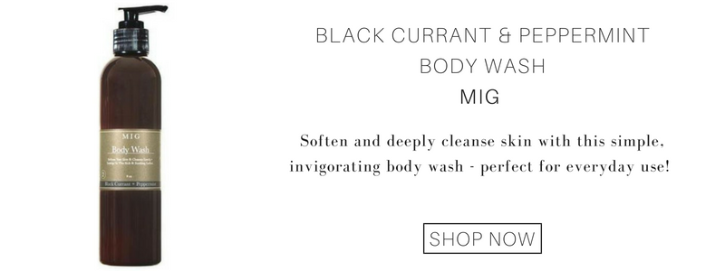 Black Currant and Peppermint Body Wash from MIG. soften and deeply cleanse skin with this simple, invigorating body wash - perfect for everyday use!