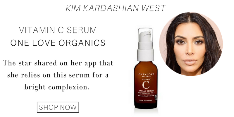 kim kardashian west: vitamin c serum from one love organics. the star shared on her app that she relies on this serum for a bright complexion.