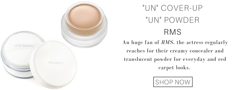 """un"" cover-up and ""un"" powder from RMS. a huge fan of rms, the actress regularly reaches for their creamy concealer and translucent powder for everyday and red carpet looks."
