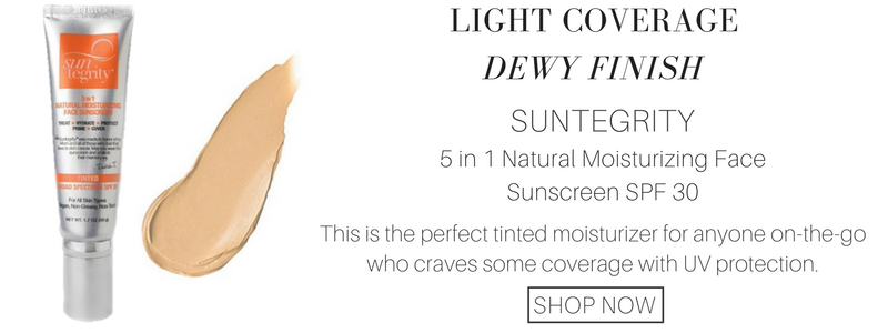 light coverage dewy finish: suntegrity 5 in 1 natural moisturizing face sunscreen spf 30. this is the perfect tinted moisturizer for anyone who craves some coverage with uv protection.