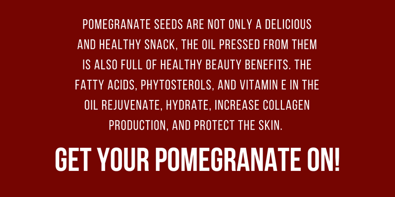 pomegranate seeds are not only a delicious and healthy snack, the oil pressed from them is also full of healthy beauty benefits. the fatty acids, phytosterols and vitamin e in the oil rejuvenate, hydrate, increase collagen production, and protect skin. get your pomegranate on!