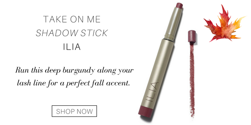 take on me shadow stick from ilia. run this deep burgundy along your lash line for a perfect fall accent.