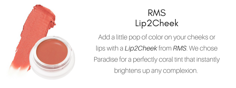 RMS Lip2Cheek: add a little pop of color on your cheeks or lips with a lip2cheek from rms. we chose paradise for a perfectly coral tint that instantly brightens up any complexion.