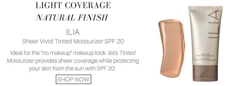 "light coverage natural finish: ilia sheer vivid tinted moisturizer spf 20. ideal for the ""no makeup"" makeup look. ilia's tinted moisturizer provides sheer coverage while protecting your skin from the sun with spf 20."