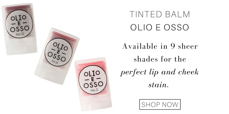 tinted lip balm from olio e osso: available in 9 sheer shades for the perfect lip and cheek stain.
