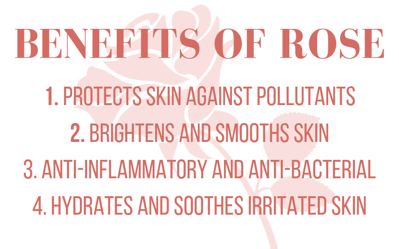 benefits of rose: protects skin against pollutants. brightens and smooths skin. anti-inflammatory and anti-bacterial. hydrates and soothes irritated skin.