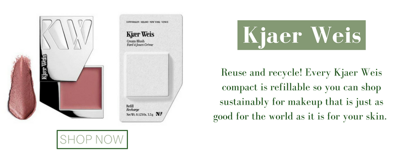kjaer weis: reuse and recycle! every kjaer weis compact is refillable so you can shop sustainably for makeup that is just as good for the world as it is for your skin.