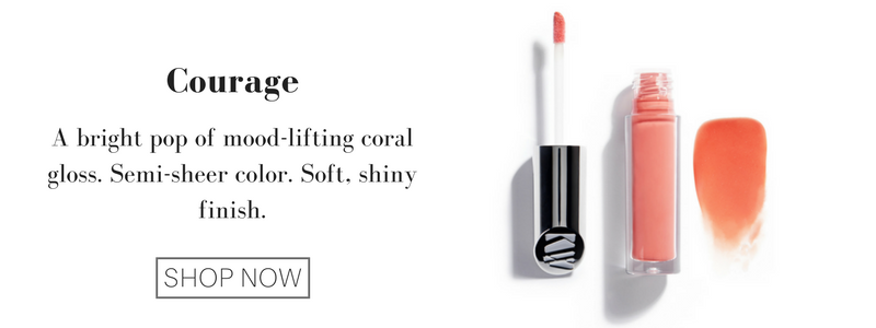 courage: a bright pop of mood-lifting coral gloss. semi-sheer color. soft, shiny finish.