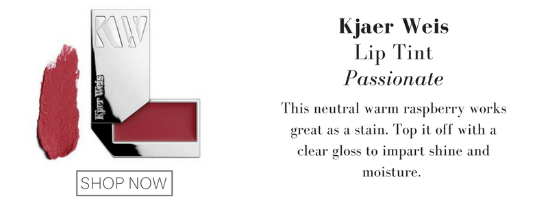 kjaer weis lip tint in passionate: this neutral warm raspberry works great as a stain. top it off with a clear gloss to impart shine and moisture.
