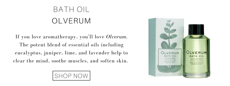 bath oil from olverum. if your love aromatherapy, you'll love olverum. the potent blend of essential oils including eucalyptus, juniper, lime, and lavender help to clear the mind, soothe muscles, and soften skin.