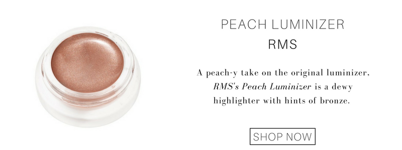 Peach luminizer from RMS: a peach-y take on the original luminizer. RMS's peach luminizer is a dewy highlighter with hints of bronze.