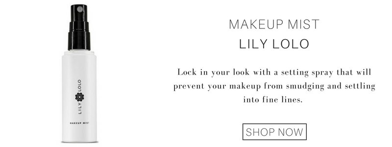 makeup mist from lily lolo: lock in your look with a setting spray that will prevent your makeup from smudging and settling into fine lines.