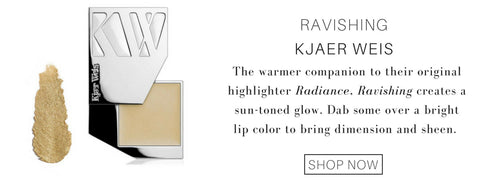 ravishing highlighter from kjaer weis: the warmer companion to their original highlighter radiance, ravishing creates a sun toned glow. dab some over a bright lip color to bring dimension and sheen.