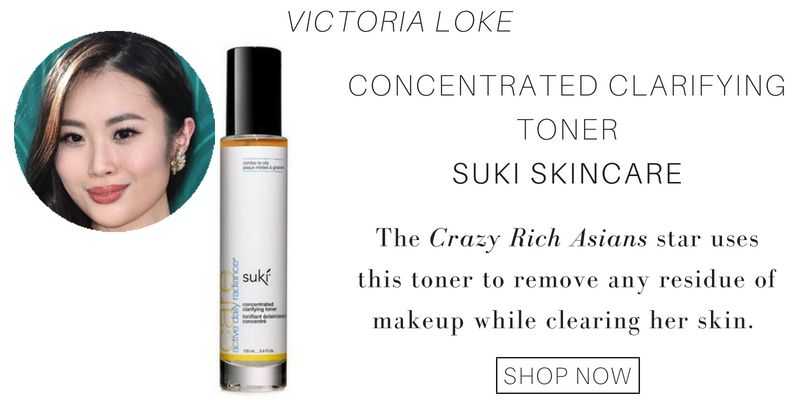 victoria loke: concentrated clarifying toner from suki skincare. the crazy rich asians star uses this toner to remove any residue of makeup while clearing her skin.