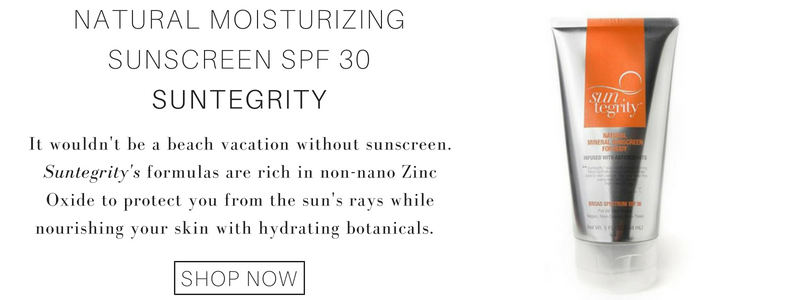 natural moisturizing sunscreen spf 30 from suntegrity: it wouldn't be a beach vacation without sunscreen. suntegrity's formulas are rich in non-nano zinc oxide to protect you from the sun's rays while nourishing your skin with hydrating botanicals.