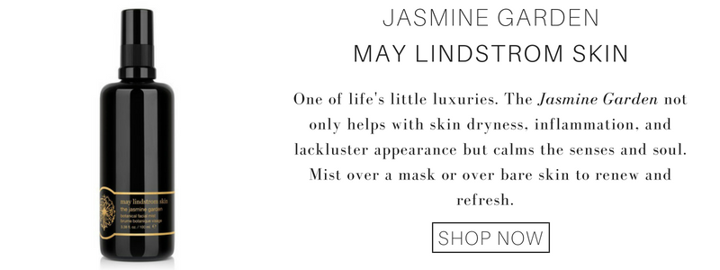 jasmine garden from may lindstrom skin. one of life's little luxuries. the jasmine garden not only helps with skin dryness, inflammation, and lackluster appearance but calms the senses and soul. mist over a mask or over bare skin to renew and refresh.