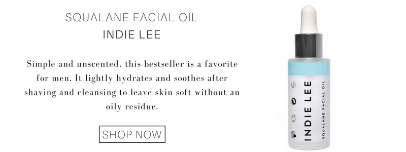 Squalane Facial Oil from Indie Lee. simple and unscented, this bestseller is a favorite for men. it lightly hydrates and soothes after shaving and cleansing to leave skin soft without an oily residue.