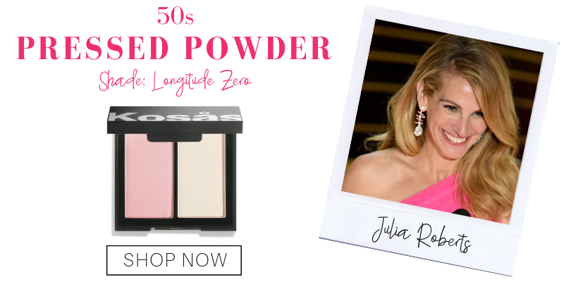 50s: pressed powder in the shade longitude zero from kosas. pictured: julia roberts