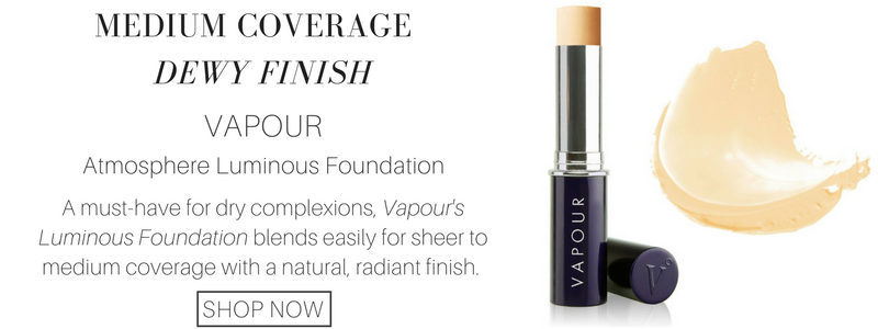 medium coverage dewy finish: vapour atmosphere luminous foundation. a must have for dry complexions, vapour's luminous foundation blends easily for sheer to medium coverage with a natural, radiant finish.