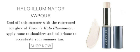 halo illuminator from vapour: cool off this summer with the rose-toned icy glow of vapour's halo illuminator. apply some to shoulders and collarbone to accentuate your summer tan.