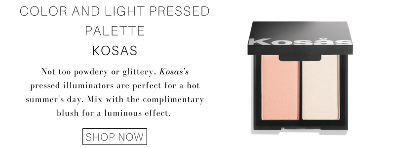 color and light pressed palette from kosas: not too powdery or glittery, kosas's pressed illuminators are perfect for a hot summer's day. mix with the complimentary blush for a luminous effect