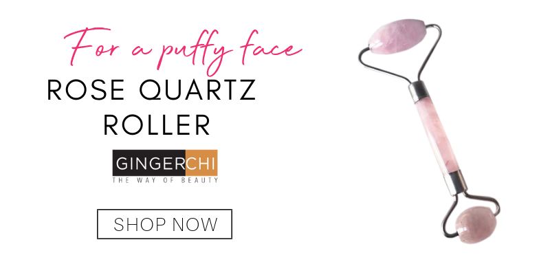 for a puffy face: rose quartz roller from gingerchi