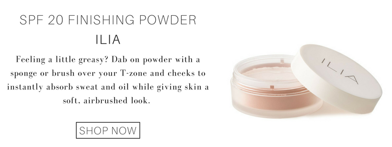 spf 20 finishing powder from ilia: feeling a little greasy? dab on powder with a sponge or brush over your t-zone and cheeks to instantly absorb sweat and oil while giving skin a soft airbrushed look.