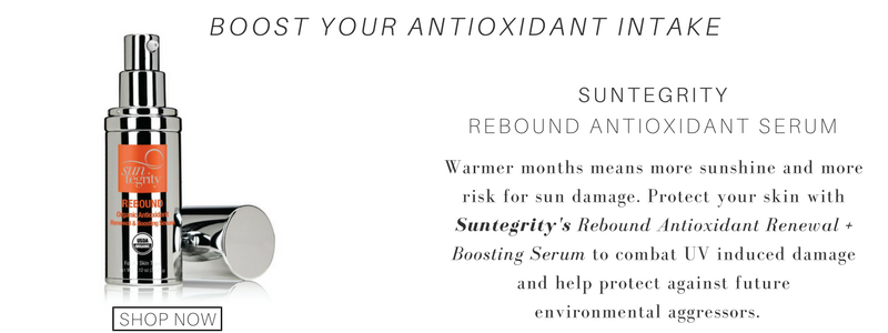 boost your antioxidant intake, use suntegrity rebound antioxidant serum. warmer months means more sunshine and more risk for sun damage. protect you skin with suntegrity's rebound antioxidant renewal boosting serum to combat uv induced damage and help protect against future environmental aggressors.