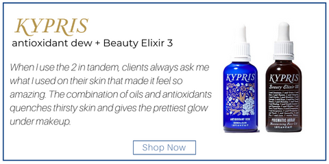 "antioxidant dew and beauty elixir 3 from kypris. ""When I use the 2 in tandem, clients always ask me what I used on their skin that made it feel so amazing. The combination of oils and antioxidants quenches thirsty skin and gives the prettiest glow under makeup."""
