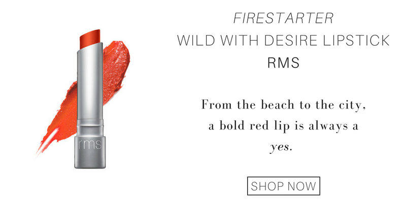 firestarter wild with desire lipstick from rms: from beach to the city, a bold red lip is always a yes.
