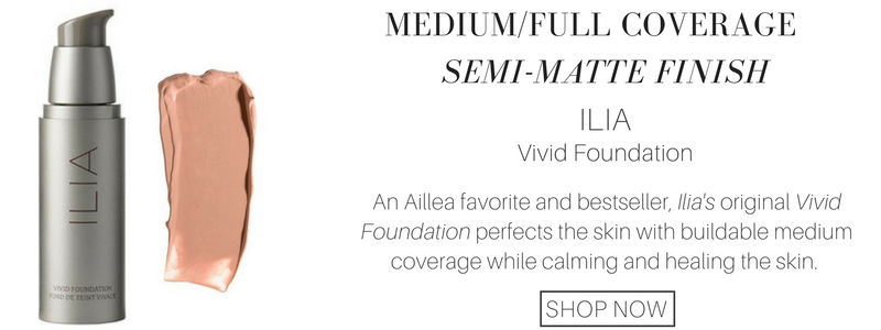 medium/full coverage semi-matte finish ilia vivid foundation. an aillea favorite and bestseller, ilia's original vivid foundation perfects the skin with buildable medium coverage while calming and healing the skin.