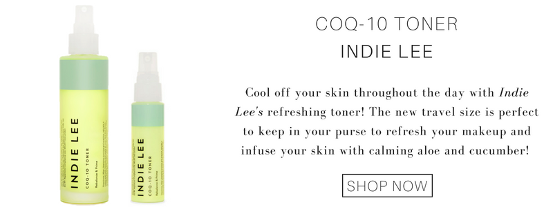 coq-10 toner from indie lee: cool off your skin throughout the day with indie lee's refreshing toner! the new travel size is perfect to keep in your purse to refresh your makeup and infuse your skin with calming aloe and cucumber!