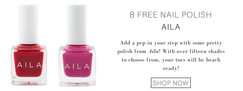 8 free nail polish from aila: add a pep in your step with some pretty polish from aila! with over fifteen shades to choose from, your toes will be beach ready!