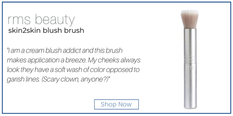 "rms beauty skin2skin blush brush. ""I am a cream blush addict and this brush makes application a breeze. My cheeks always look they have a soft wash of color opposed to garish lines. (Scary clown, anyone?)"""