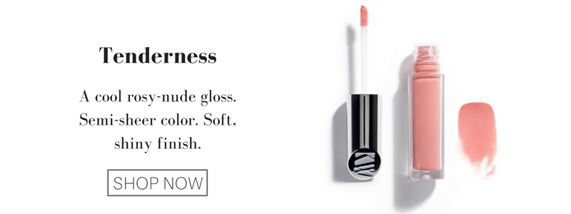 tenderness: a cool rosy-nude gloss. semi-sheer color. soft, shiny finish.