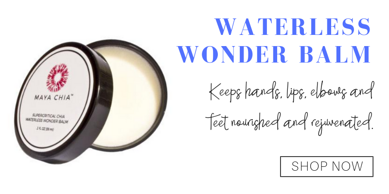 waterless wonder balm from maya chia. keeps hands, lips, elbows, and feet nourished and rejuvenated.