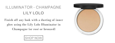 illuminator in the shade champagne from lily lolo: finish off any look with a dusting of inner glow using the lily lolo illuminator in champagne (or rosé or bronzed)