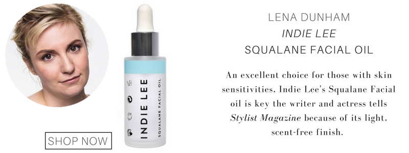 Lena Dunham indie lee squalane facial oil. an excellent choice for those with skin sensitivities, indie lee's squalane facial oil is key the writer and actress tells stylist magazine because of its light, scent free finish.