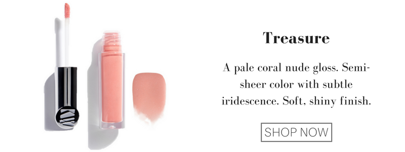 treasure: a pale coral nude gloss. semi-sheer color with subtle iridescence. soft, shiny finish.