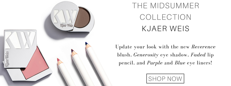 the midsummer collection from kjaer weis: update your look with the new reverence blush, generosity eye shadow, faded lip pencil, and purple and blue eye liners!