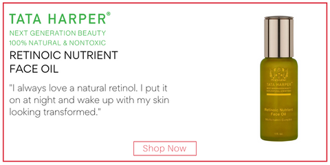 "retinoic nutrient face oil from tata harper. ""I always love a natural retinol. I put it on at night and wake up with my skin looking transformed."""
