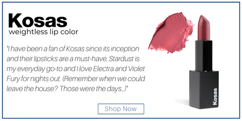 "kosas weightless lip color. ""I have been a fan of Kosas since its inception and their lipsticks are a must-have. Stardust is my everyday go-to and I love Electra and Violet Fury for nights out. (Remember when we could leave the house? Those were the days…)"""