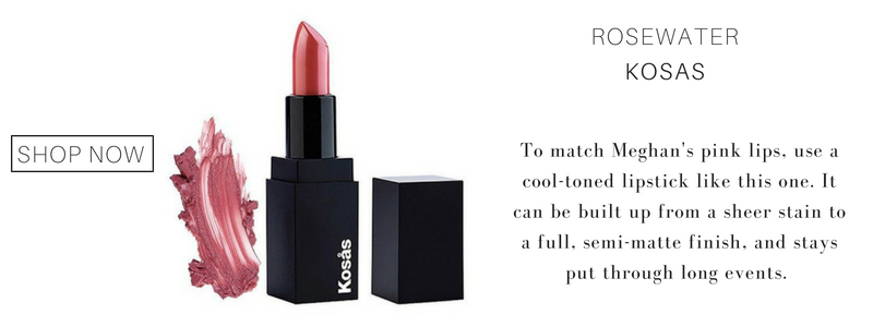 rosewater lipstick from kosas. to match meghan's pink lips use a cool-toned lipstick like this one. it can be built up from a sheer stain to a full, semi-matte finish, and stays put through long events.