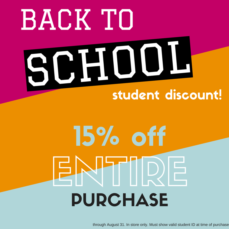 back to school student discount, 15% off entire purchase