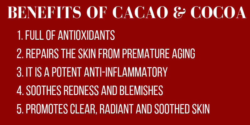 benefits of cacao and cocoa: full of antioxidants. repairs the skin from premature aging. it is a potent anti-inflammatory. soothes redness and blemishes. promotes clear, radiant, and soothed skin.
