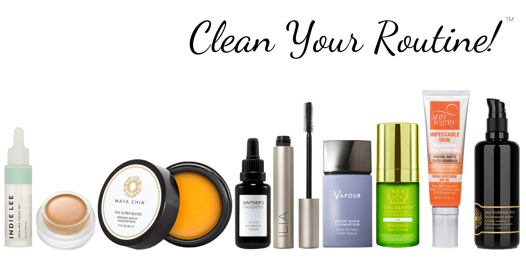 Clean Your Routine assorted clean beauty products