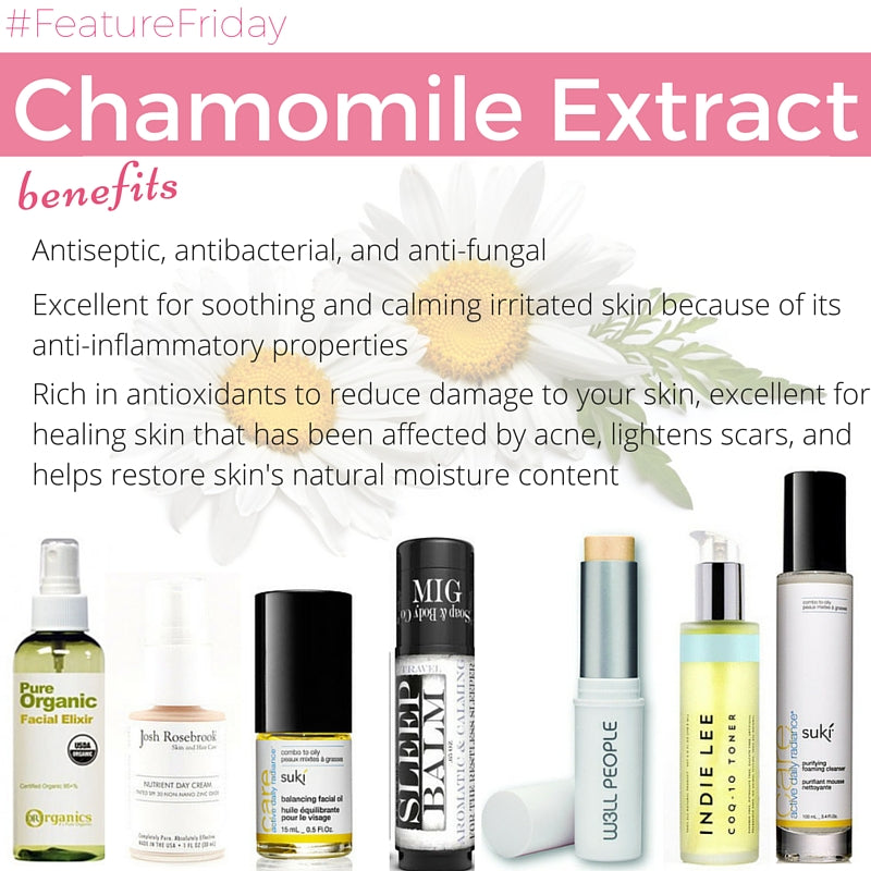 chamomile extract benefits: antiseptic, antibacterial, anti-fungal. excellent for soothing and calming irritated skin because of its anti-inflammatory properties. rich in antioxidants to reduce damage to your skin, excellent for healing skin that has been affected by acne, lightens scars, and helps restore skin's natural moisture content.