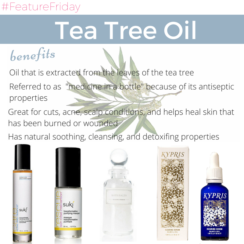 "tea tree oil benefits: oil that is extracted from the leaves of the tea tree. referred to as ""medicine in a bottle"" because of its antiseptic properties. great for cuts, acne, scalp conditions, and helps heal skin that has been burned or wounded. has natural soothing, cleansing, and detoxifying properties."